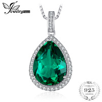 JewelryPalace Luxury Pear Cut 7.4ct Created Emerald Solid 925 Sterling Silver Pendant Necklace 45cm Chain for Women 2018 Hot