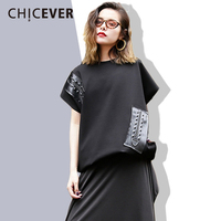CHICEVER Rivert Women S T Shirts 2018 Summer O Neck PU Leather Short Sleeve Loose Big