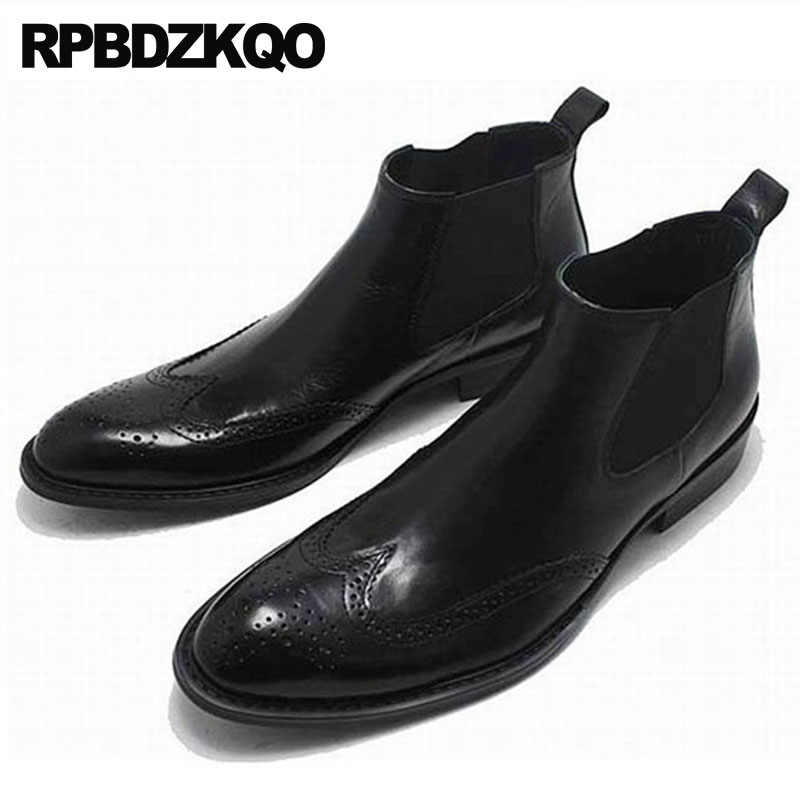833fc0f1f9 Men Fall Lace Up Runway High Top Brogue Booties Chunky Wingtip Oxford Shoes  Winter Black Chelsea
