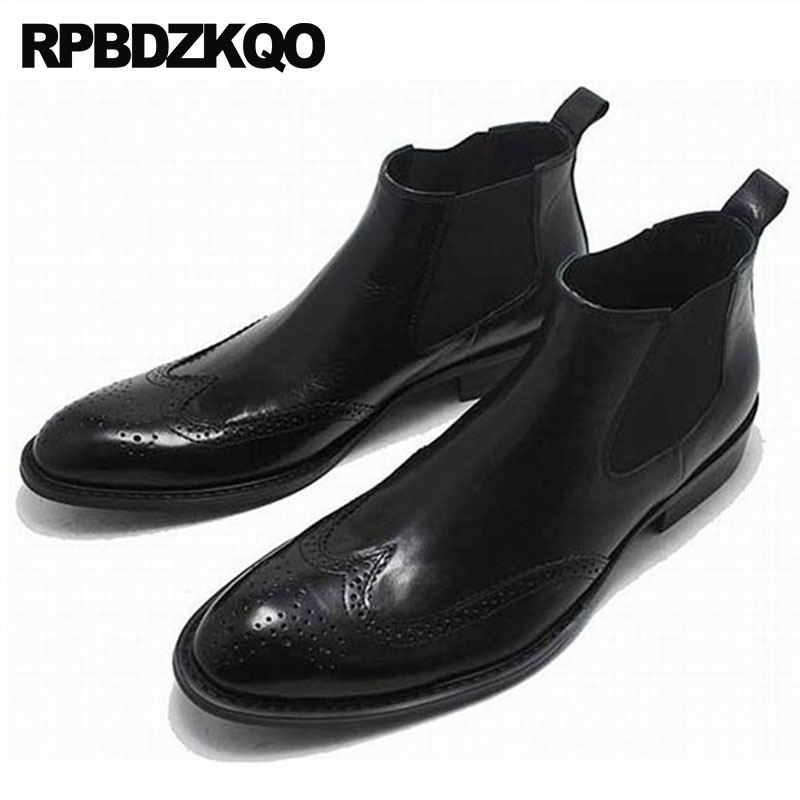 Men Fall Lace Up Runway High Top Brogue Booties Chunky Wingtip Oxford Shoes Winter Black Chelsea Mens Pointed Toe Dress BootsMen Fall Lace Up Runway High Top Brogue Booties Chunky Wingtip Oxford Shoes Winter Black Chelsea Mens Pointed Toe Dress Boots