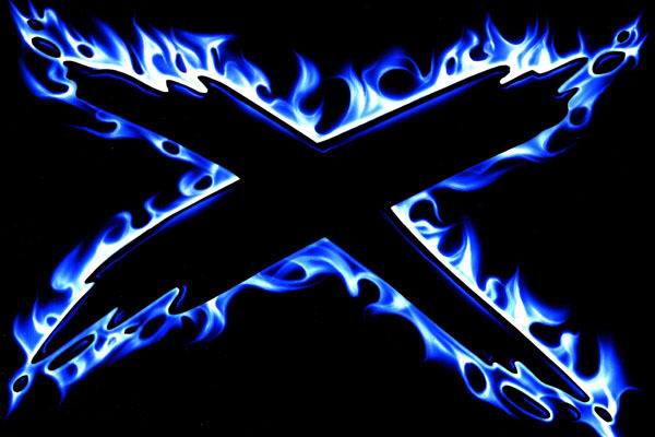 Custom Room Posters Living Room Wall Stickers Blue Fire X Letter