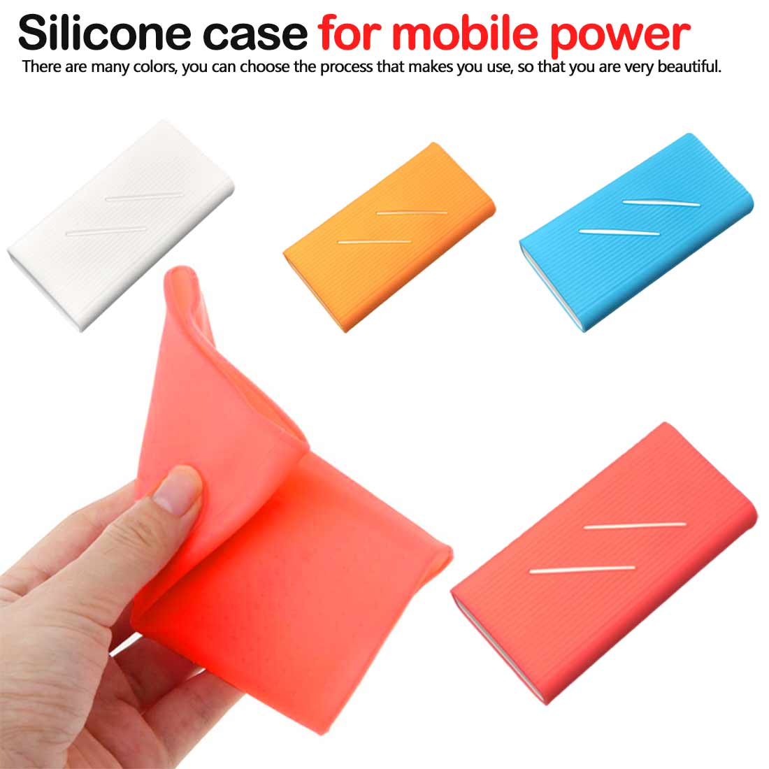 Skin Accessory Silicone Case Cover for New Millet 2 10000mAh Dual USB Mobile Power supply Power Bank Powerbank image