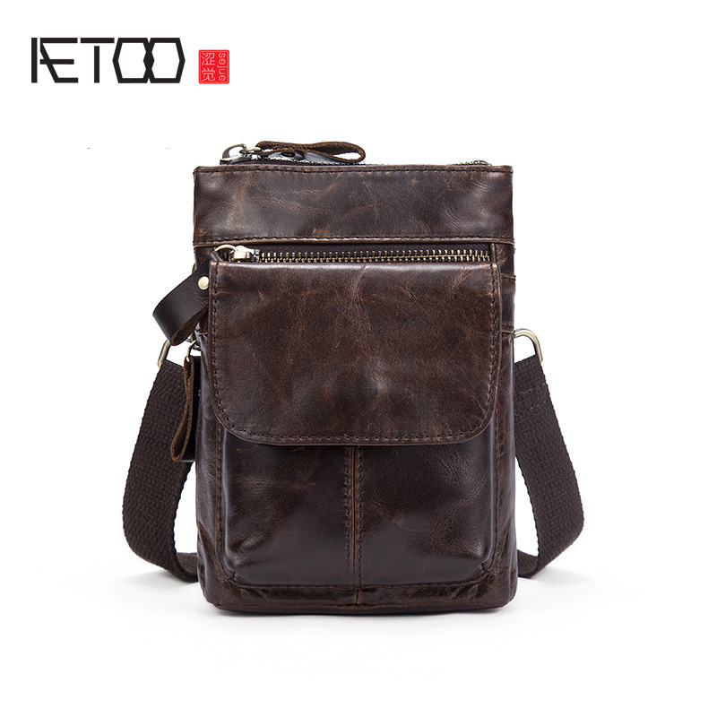 AETOO Leather small waist bag head cowhide wholesale men retro camera 7 inch with a small