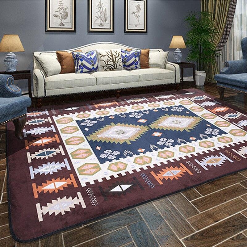 Style nordique grands tapis doux velours de corail imprimé petits tapis tapis de salon tapis anti-dérapant tapis pour salon décor à la maison