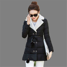 2016 Fashion Winter Cotton Down Coat Medium Long Women Warm Padded Cotton Jacket Thicken Women Winter