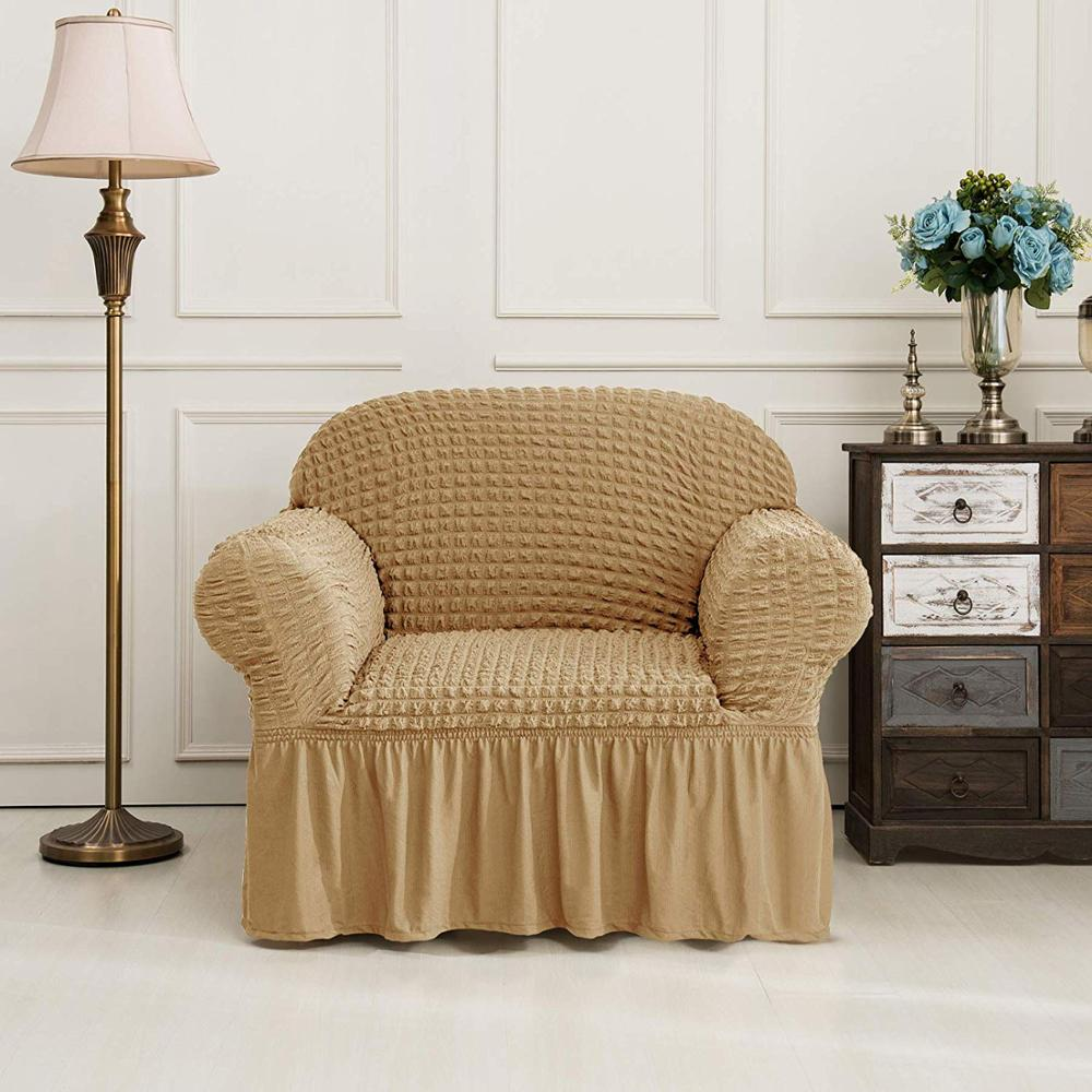 Elastic Sofa Cover with 3D Plaid and Elegant Skirt Slipcover for Universal Sofa of Home Hotel and Office 3