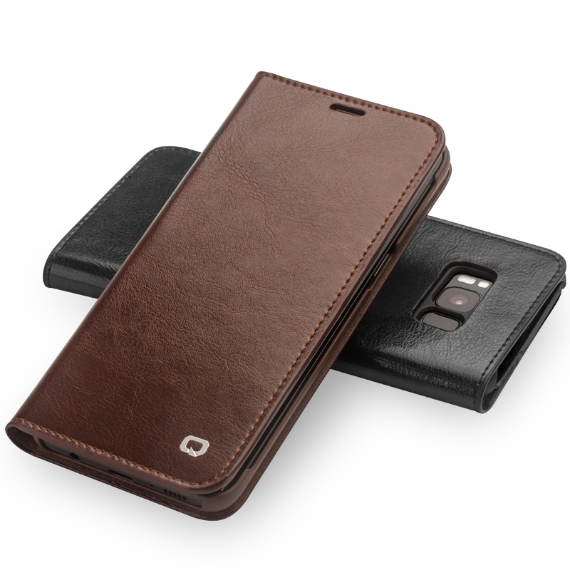 QIALINO Leather Case for Samsung Galaxy S8 & S8 Plus Genuine Leather Bag Flip Wallet Ultra Thin Cover for Samsung S8 & S8 Plus