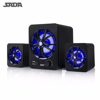 SADA Portable Speaker 2 1 Surround Sound Mobile Phone Computer Laptop Speaker With Luminous Atmosphere Lamp