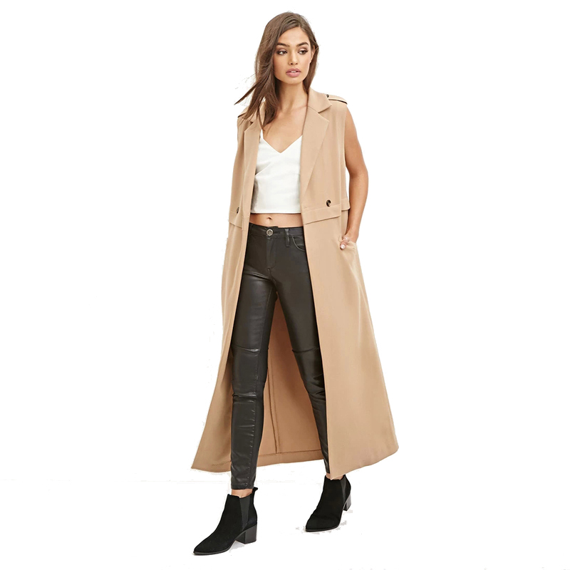 Patchwork Fashion Trench Coats Women Solid Color Turn down