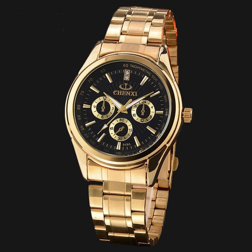 цены Brand CHENXI Gold Man Dress Watches Luxury Steel Sport Casual Quartz Wristwatch for Men Popular Analog Male Business Clock