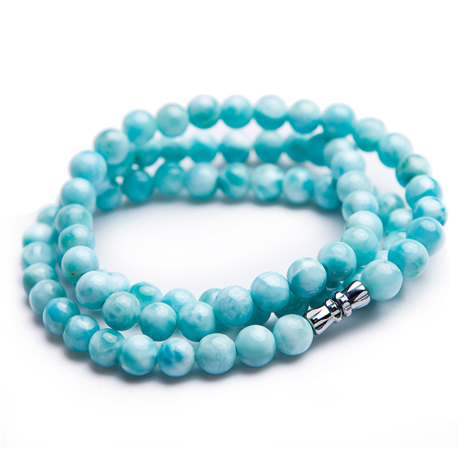 7mm Genuine Natural Larimar Bracelet For Women Men Anniversary Party Gift Powerful Stretch Crystal Round Bead