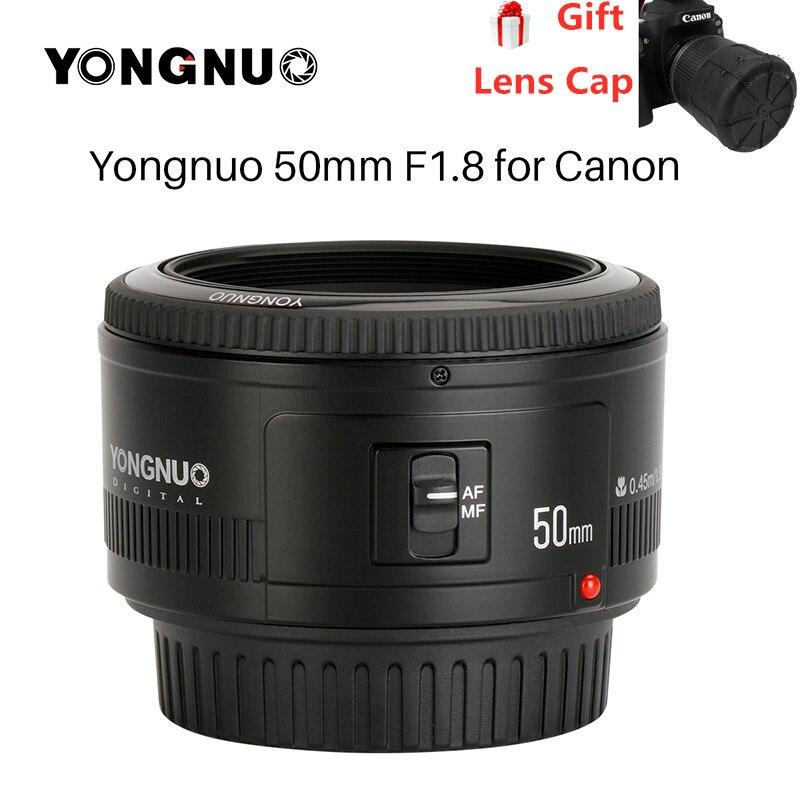 YONGNUO YN50mm YN50 F1.8 EF EOS 50MM AF MF objectif de caméra Canon pour Canon rebelle T6 EOS 700D 750D 800D 5D Mark II 10D 1300D