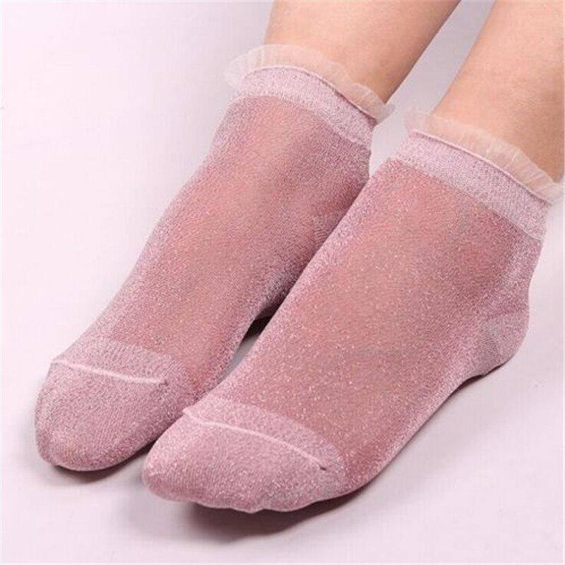 1Pair Women Lace Ankle Sock Soft Comfy Sheer Elastic Mesh Frill Trim Transparent Women's socks Hosiery drop ship 7Color Clothes