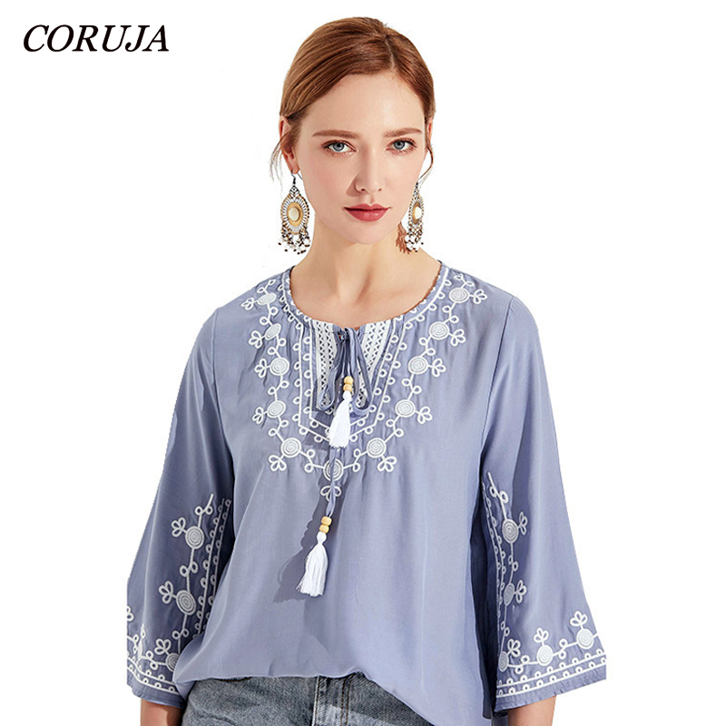 CORUJA Summer Blouses Women's Top Embroidery White Floral Vintage Casual Bohemian Clothing Lace Up O Neck Women Blouse Shirt