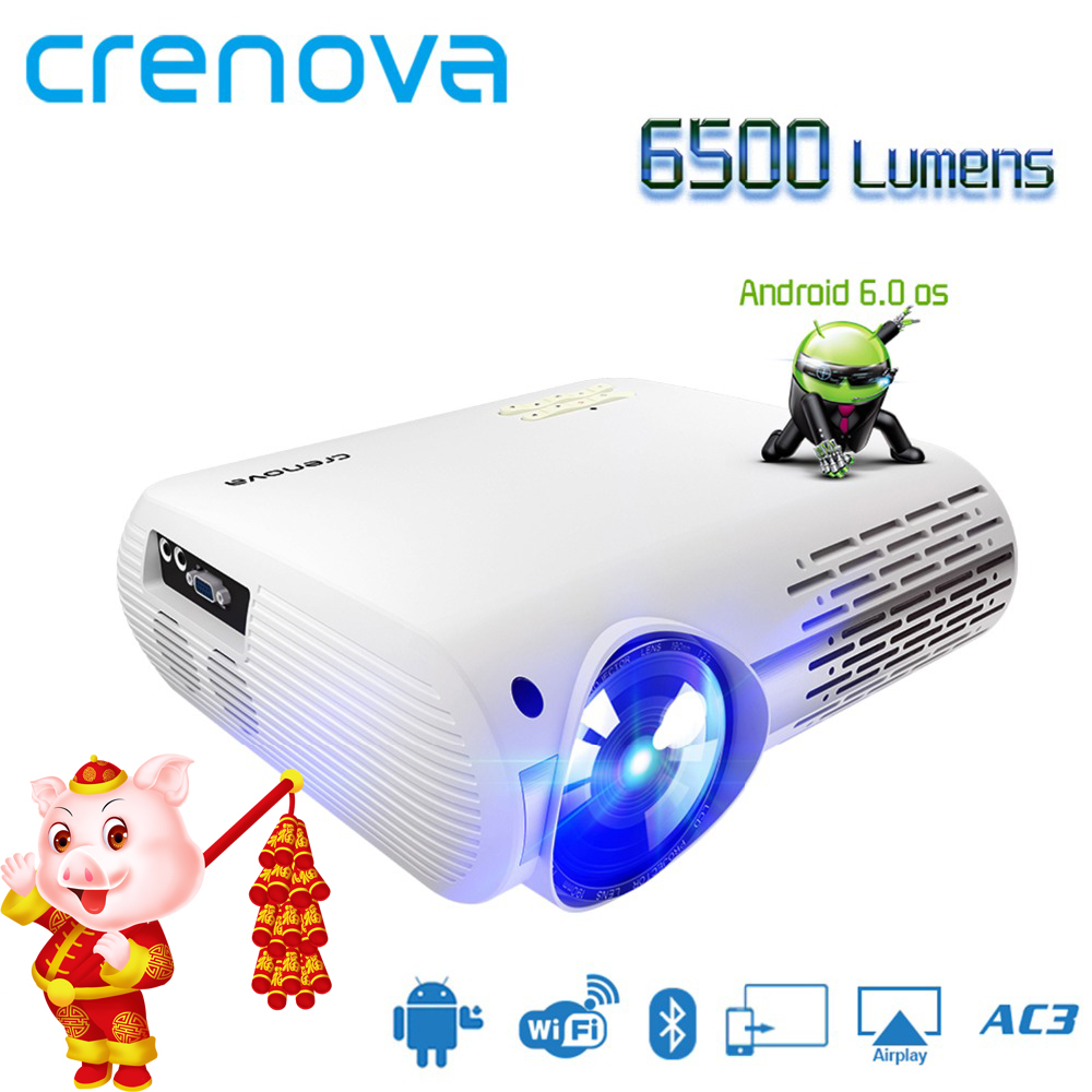 41c173408a5150 CRENOVA 2018 Newest Video Projector For Full HD 4K*2K Home Theater  Projectors With 5G WIFI Android 6.0 OS 6500 Lumens Proyector