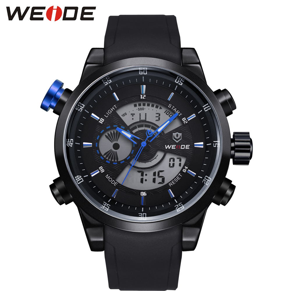 WEIDE Men Sport Watch Analog Digital Display 30m Waterproof Outdoor Stop Watch With PU Strap Alarm Clock Gift Box Free Shipping leap pq9907 professional digital chess clock with alarm
