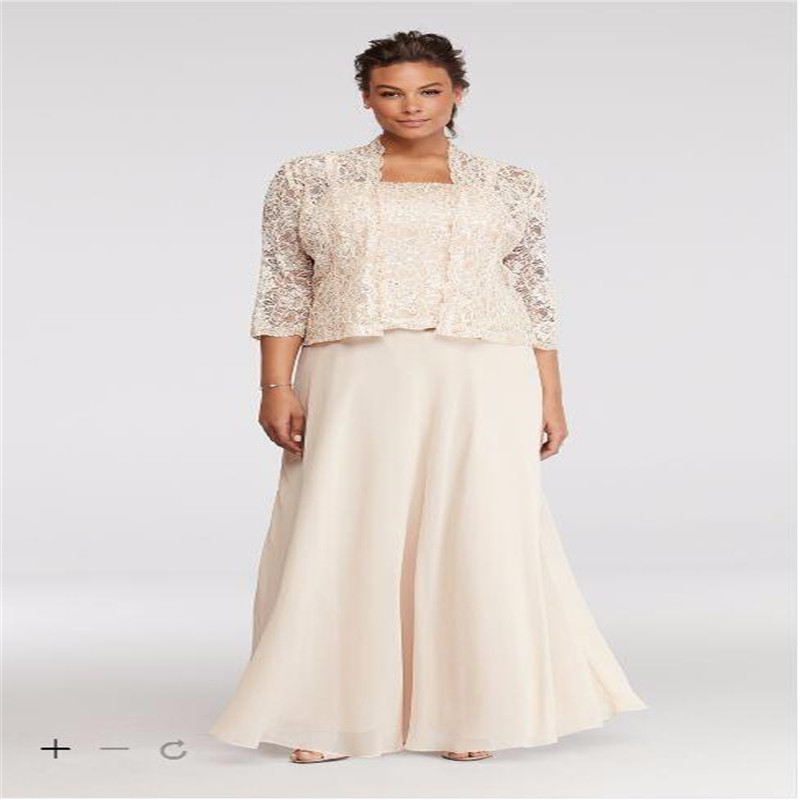 2017 Plus Size Lace Chiffon Three Piece Mother Of The Bridal Dresses With 3 4 Sleeves Jacket ES76540DB Mothers Dress In Bride From
