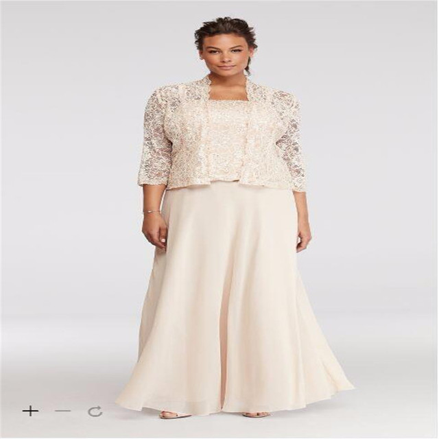 2017 Plus Size Lace Chiffon Three Piece Mother of the Bridal Dresses ...