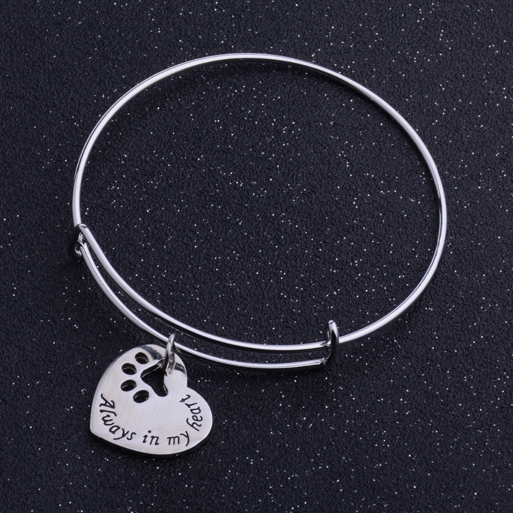 Always In My Heart Paws Bangle Prints Dog Tag Bracelet ...