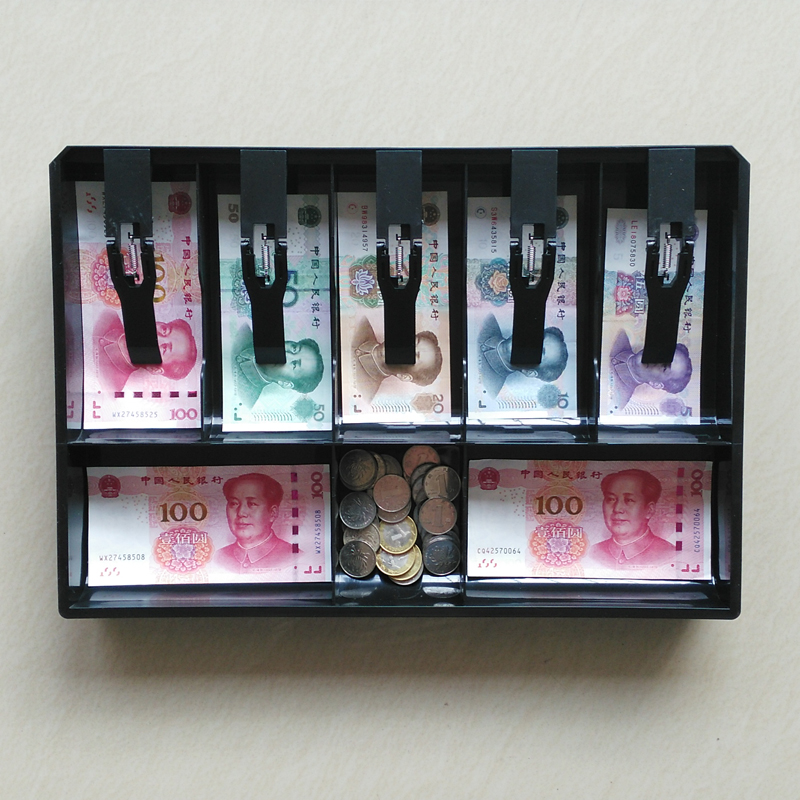 Money Counter Case Cash Register Drawer Insert Tray Bill Coin Stamp Compartments With Plastic Clip For Money Storage Store