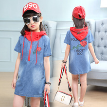 Summer Girls Jeans Dress with hat 2019 New Casual Kids Dresses for Girls Clothing Jeans dress 5 6 9 Years Clothes TTX87