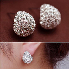 Fashion Elegant Style Sparkling Rhinestone Crystal Silver plated Stud Earrings For Women Bridal Jewelry brincos High Quality E41(China)