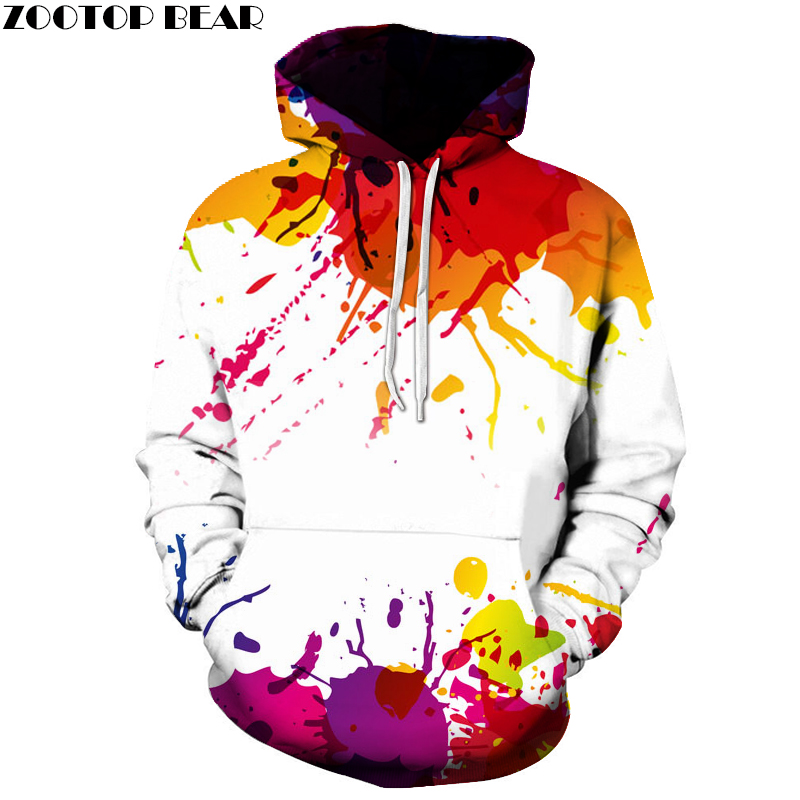 2017 Autumn Winter Cap Hoodies Men women Hip Pop Pullovers Print Paint Color Blocks Hoody 3d