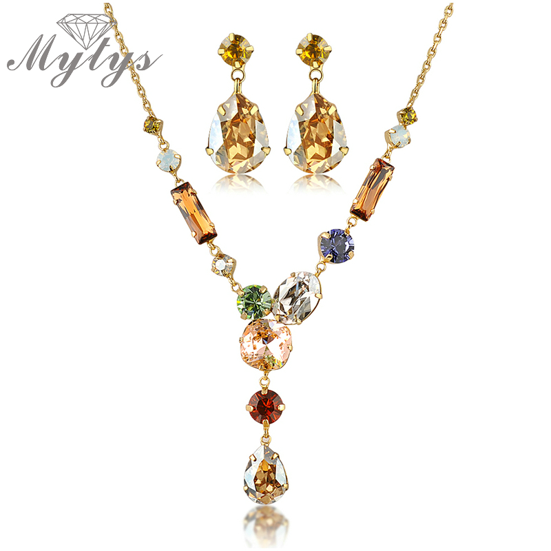 Mytys High Quality Colorful Crystal Necklace and Earring Jewelry sets for Women N396 yoursfs® 18k rose gold plated colorful raindrop crystal necklace and earring jewelry используйте синие австрийские хрустальные свадебные наборы