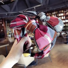 Korea  Hair Accessories For Girls Plaid Bunny Lace Headbands Women Bows Band Hairband