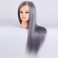 Mannequins Hairdressing Doll Heads 26inch Long Gray Hair Wig Heads For Hairdressers Training Head Fiber Mannequin Head Display