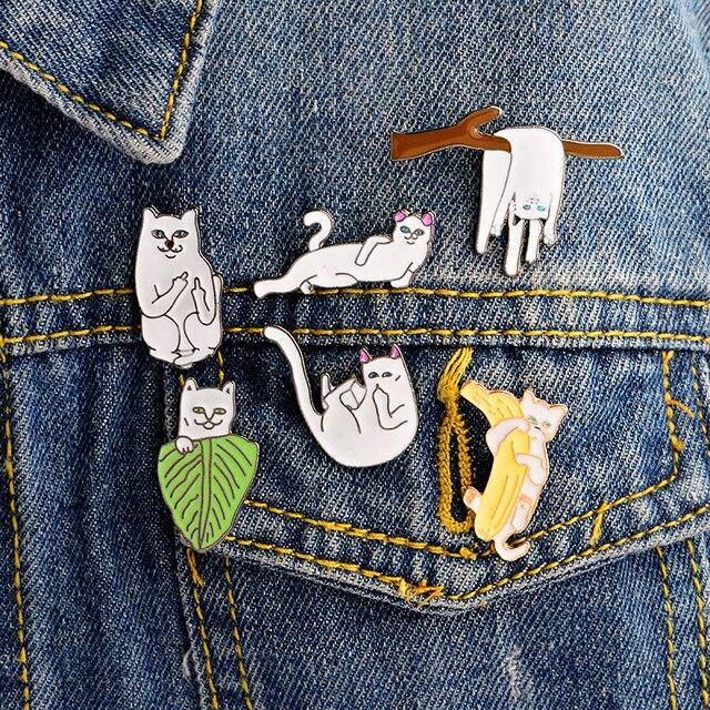 6PCS/SET Funny Cat Middle Finger cat enamel pins Hard enamel lapel pins Badges B
