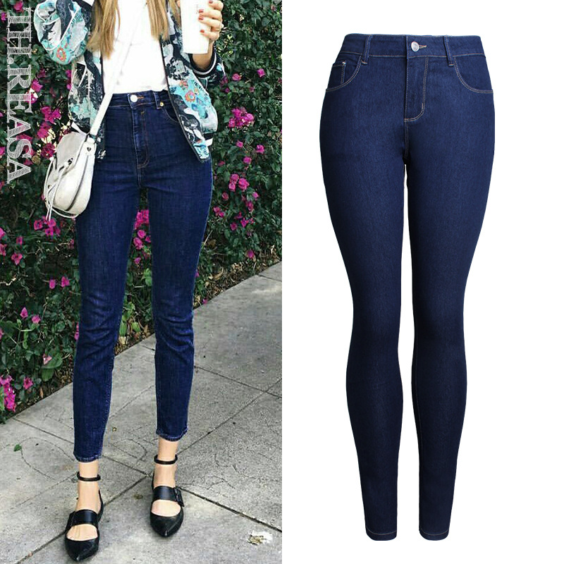 97a335e22e 2019 Spring Skinny Jeans Women Fashion Deep Blue Slim Push Up Pencil Pants  Femme Europe America Slim Elasticity Denim Trousers-in Jeans from Women's  ...