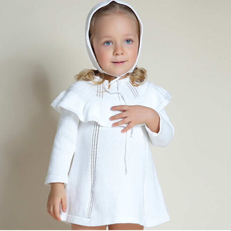 Image 2 - Girl Princess Sweater Dress New 2018 Spring Autumn Knitted Cute White Baby Dress Kids Knee Length Dress For Infant Girl dress-in Dresses from Mother & Kids