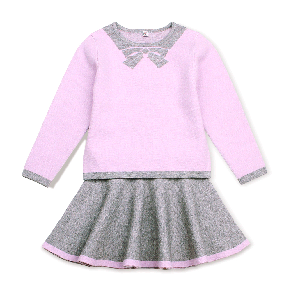 Autumn Fashion 2PCS Kids Girl Clothes Set Winter Warm T-shirt Tops + Skirt Toddler Outfits Children Knitted Costumes Suits 3-13T b a1785 new fashion 3 13t kids baby girls clothes set summer children short sleeve t shirt tops skirt 2pcs kids outfit suit