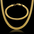 Gold Bracelet Necklace Sets Jewelry Wholesale Yellow Gold Plated Snake Chain Necklace Bracelet Men Jewelry Set 2016 New