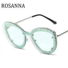 2019 New Diamond cutting Lens Cat Eye Sunglasses Women Brand Designer Fashion Rimless pearl  Big Sun Glasses For Female