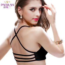 Front button female bra summer cross shoulder strap one piece glossy seamless push up underwear racerback