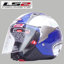 Free shipping genuine LS2 OF559 motorcycle helmet half helmet male and female models / Blue / white cockscomb