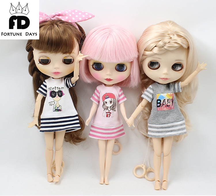 где купить Free shipping suitable blyth Doll Summer dress long shirt a stripy dress по лучшей цене