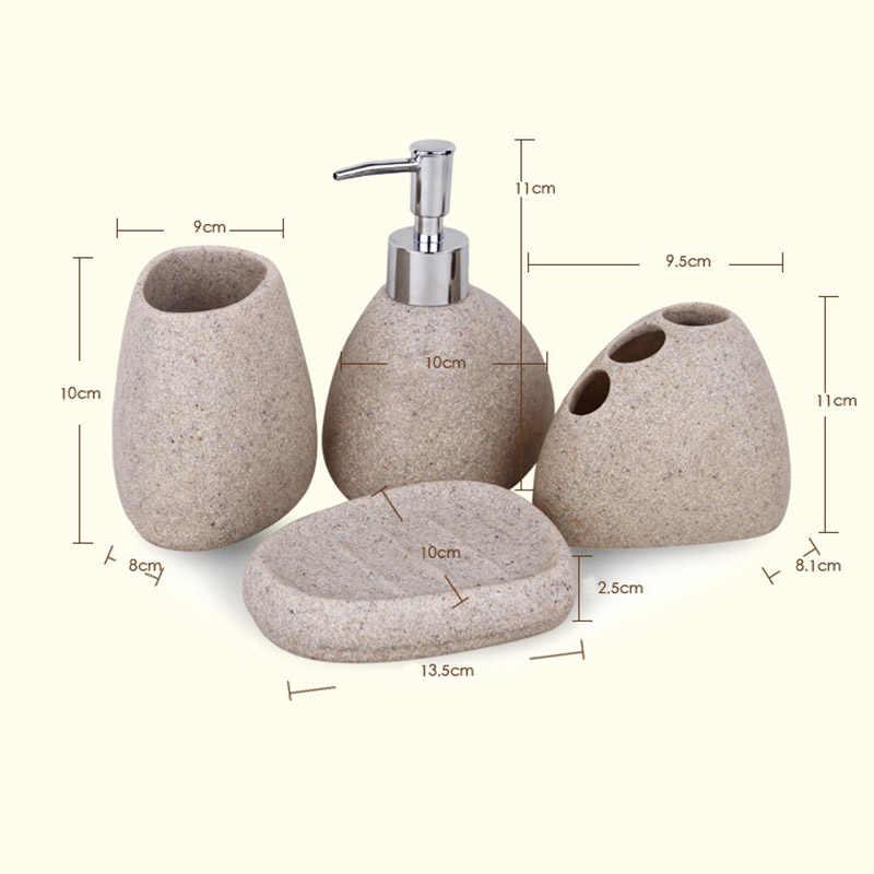 5 sztuk/zestaw zestawy akcesoriów łazienkowych żywica brukowiec projekt butelka lateksowa zębów mydło ze szkła uchwyt na szczoteczkę do zębów wystrój domu