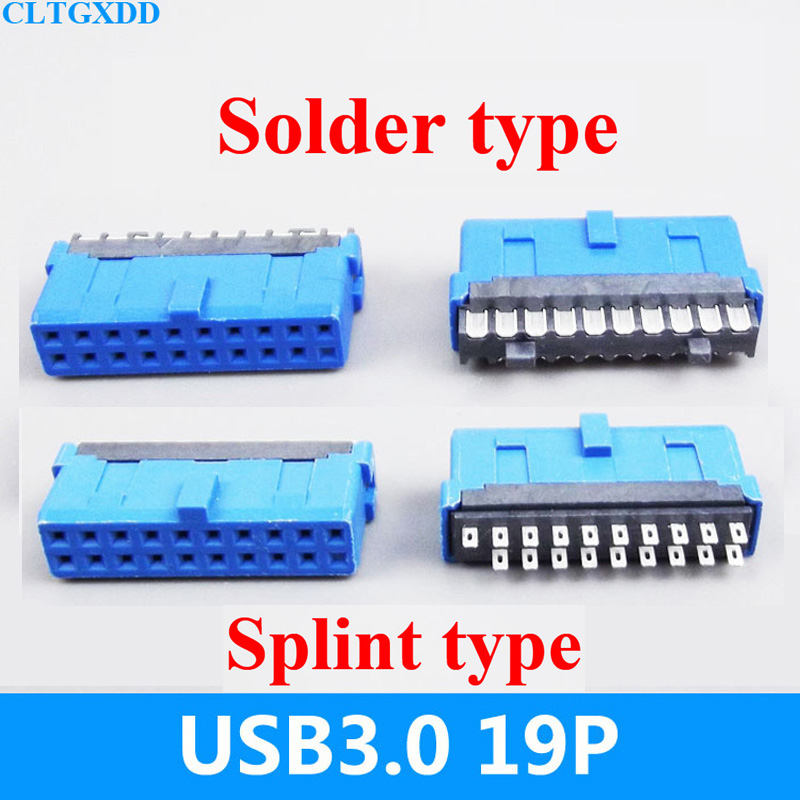 5pcs 10pcs 30pcs 50pcs 100pcs USB3.0 19P = 20P 19 pin 20 pin plug male connector female socket for PCB board repair parts usb 3 0 19p 20p 19 pin 20 pin usb3 0 male socket 90 degree motherboard chassis front seat expansion connector and bracket cable