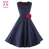 Sleeveless Tank Blue Cotton White Polka Dot Vintage Dress With Red Bow High Waist Autumn Dress