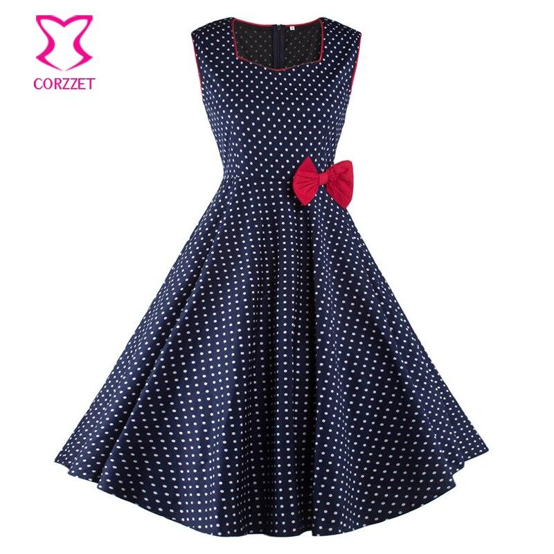 Burlesque White Polka Dot Blue Vintage šaty s červenou mašlí bez rukávů Tank podzim Rockabilly šaty Ženy Vestido De Festa