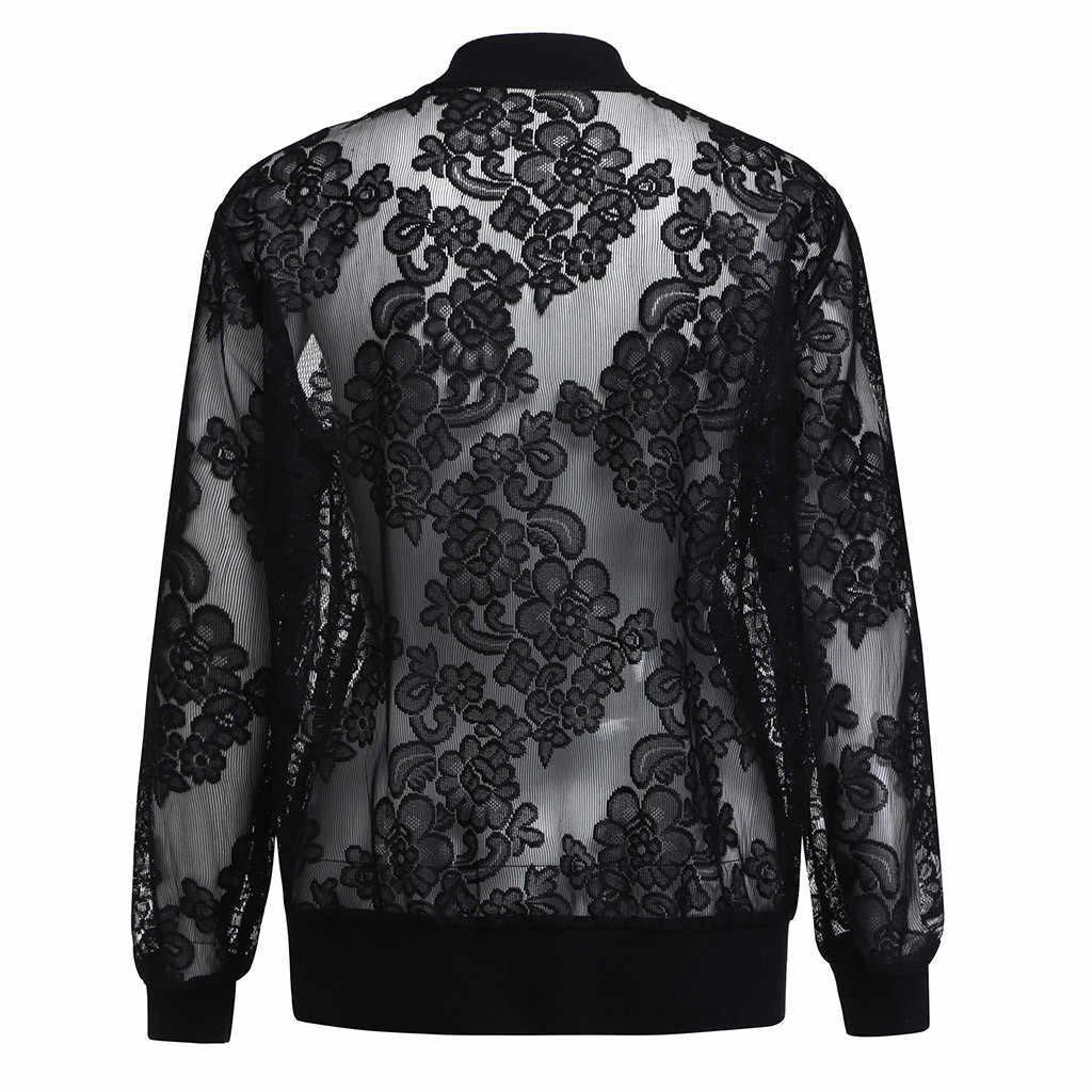 JAYCOSIN เสื้อผู้หญิง casaco feminino PLUS ขนาดลูกไม้เสื้อกันหนาวฤดูร้อนแขนยาวปกคลุม Sun Protection Outwear chaqueta mujer