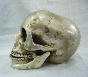 Детали тибетская культура серебряная статуя черепа основа