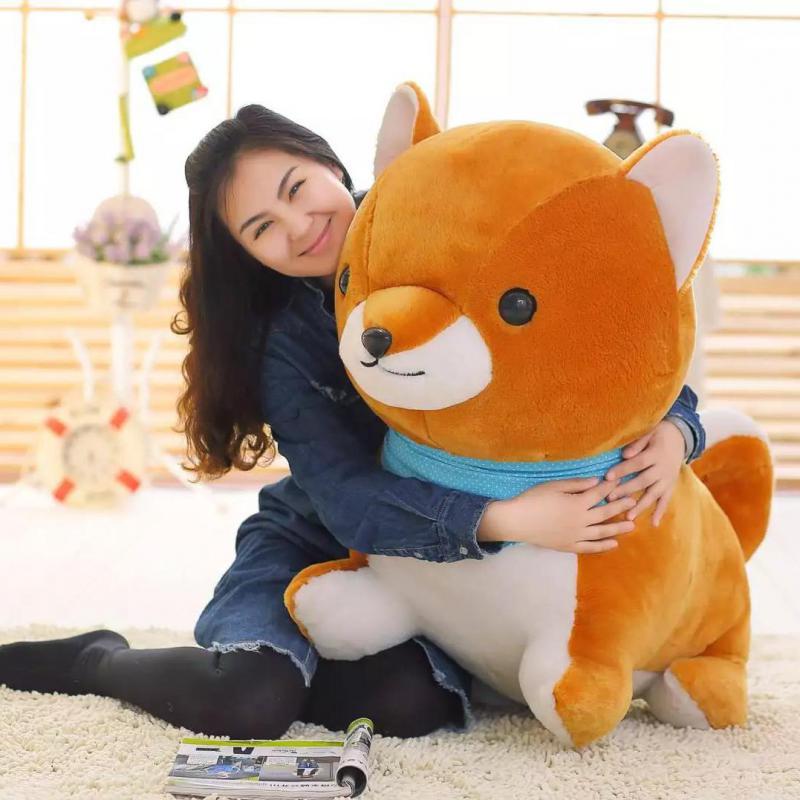 Grande taille 1 pièces 60 cm/80 cm mignon Amuse chien 3 frères jouets en peluche Shiba Inu poupée douce peluche fidèle animal Kawaii chiot enfants fille cadeau