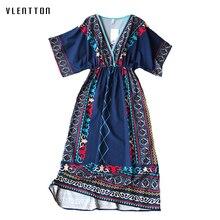 цены на Summer New Vintage Print Ladies Dresses V Neck Short Sleeve Boho Ethnic Style Clothes A-Line Midi Beach Dress For Women Vestidos  в интернет-магазинах