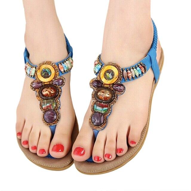 23d91d6c10b3 HENGSONG 2018 Bohemian Women Sandals Gemstone Beaded Slippers Summer Beach  Sandals Women Flip Flops Ladies Flat