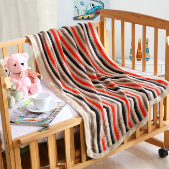 Children's stroller siesta blanket Knitted wool blanket Climbing mat Gift 80*100cm rectangle striped