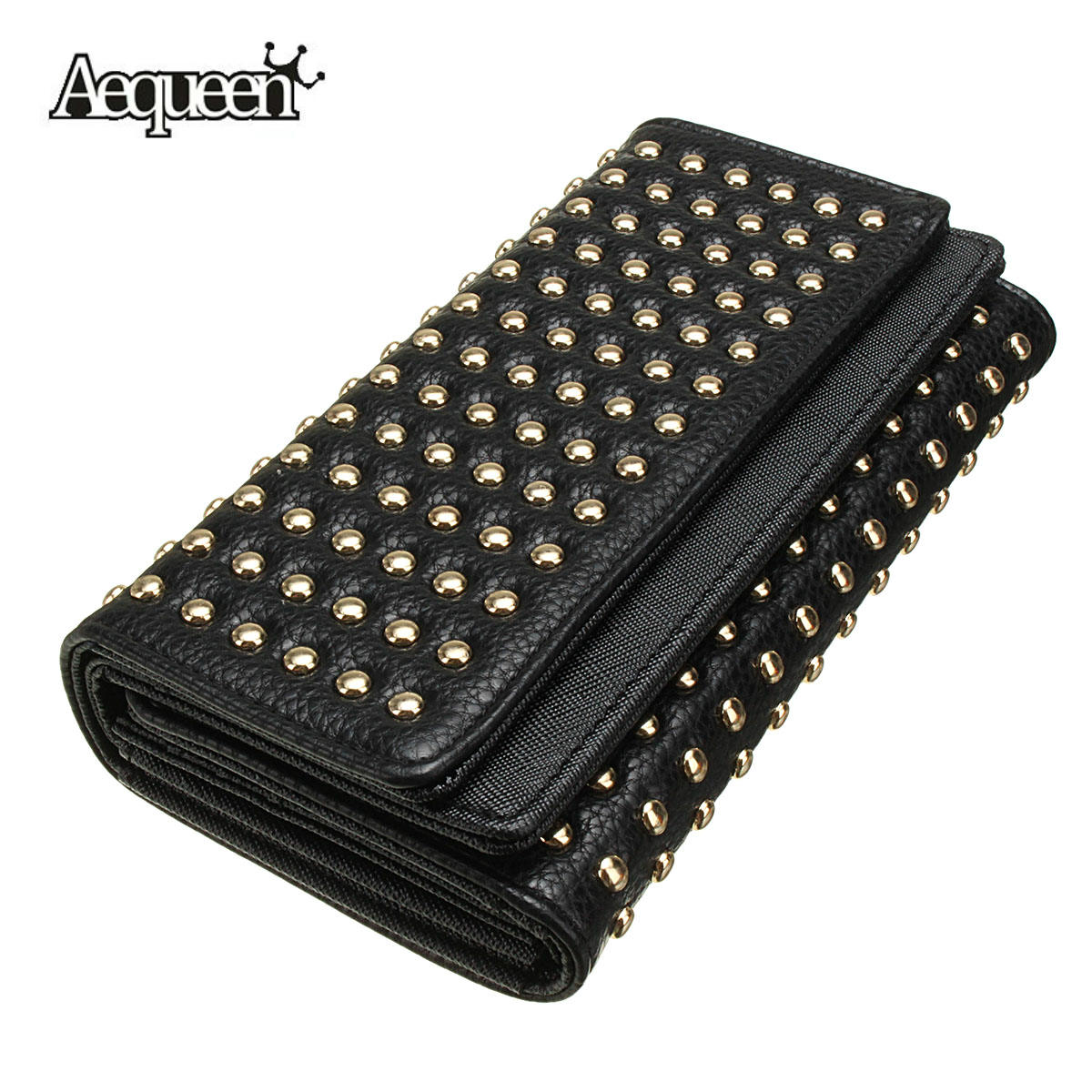 AEQUEEN Fashion Women Wallets Rivet Synthetic Leather Wallet Women's Long Design Purse Two Fold Clutch Coin Purses Pouch Card